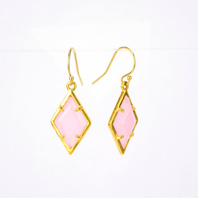 Pink Chalcedony Diamond Pendant Earrings - October Birthstone