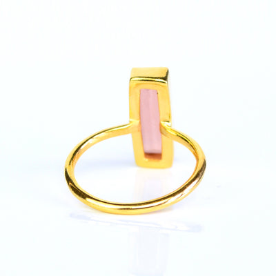 Pink Chalcedony Bar Ring : October Birthstone