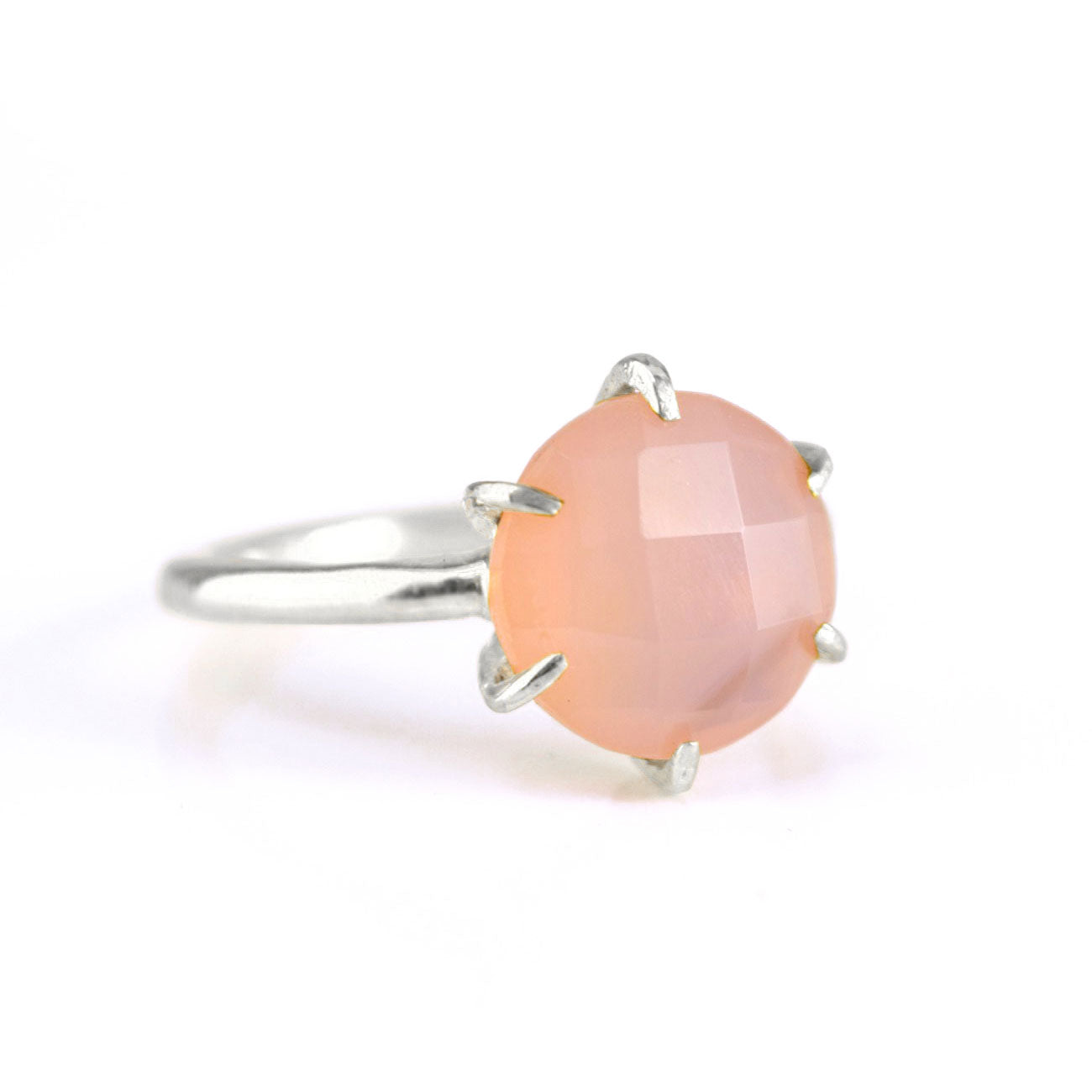 10x8mm Adjustable Ring Pink Chalcedony Ring Sterling Silver Ring with Pink Chalcedony