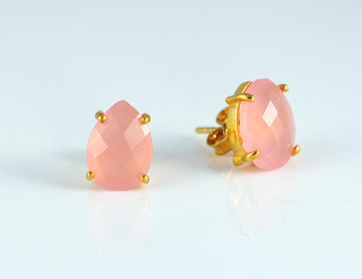 Pink Chalcedony Teardrop Prong Set Stud Earrings : October Birthstone