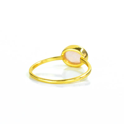 Small Oval Pink Chalcedony Ring : October Birthstone