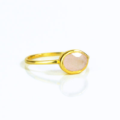 Small Oval Pink Chalcedony Ring - October Birthstone