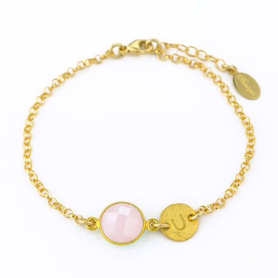 Personalized October Birthstone Bracelet - Natural Pink Chalcedony