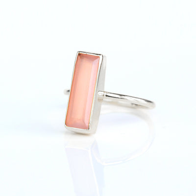 Tiny Pink Chalcedony Bar Ring : October Birthstone