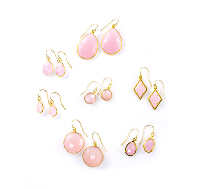 Pink Chalcedony Earrings : October Birthstone