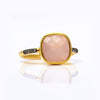 Pink Chalcedony Pave Ring - October Birthstone
