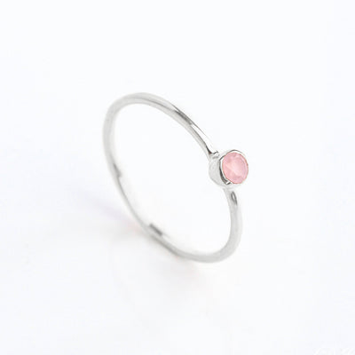 Dainty Stacking Pink Chalcedony Ring, October Birthstone