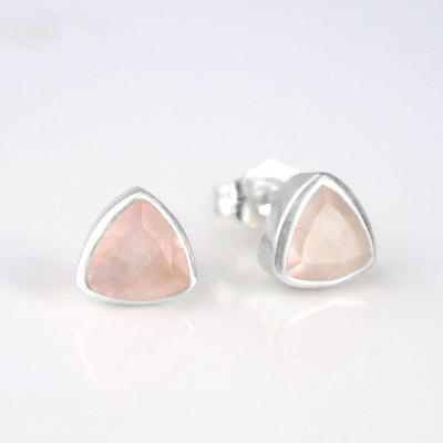 Small Pink Quartz Triangle Studs, Everyday Earrings