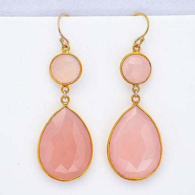 Pink Chalcedony Double Drop Earrings - October Birthstone