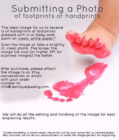 Actual Handprint or Footprint Keychain