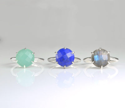 Clear Quartz round cut prong set ring - April Birthstone