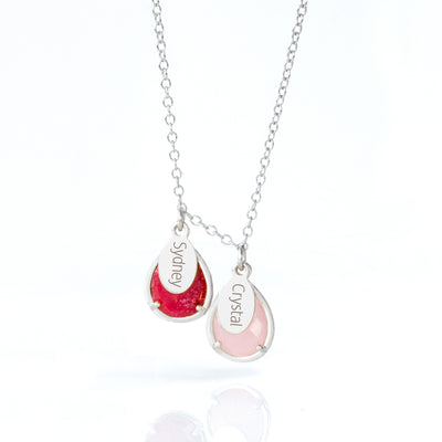 Half Bezel Teardrop Birthstone Necklace with Name Charms