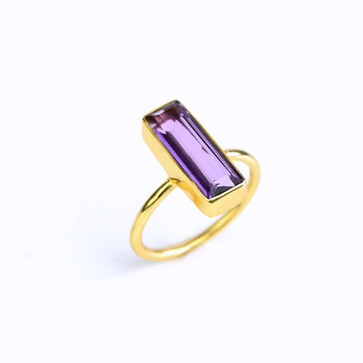 Purple Amethyst Bar Ring : February Birthstone