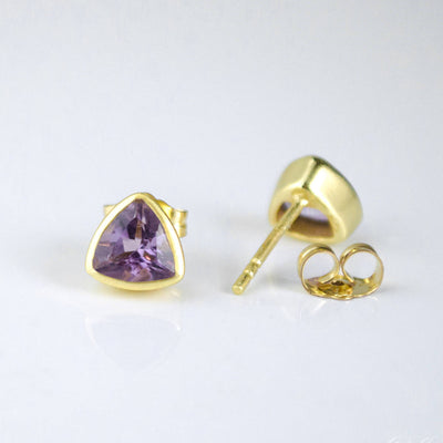 Small Purple Amethyst Triangle Studs, Everyday Earrings