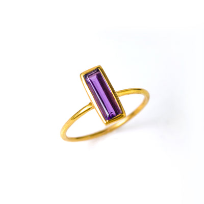 Tiny Purple Amethyst Bar Ring : February Birthstone