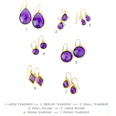 Purple Amethyst Earrings : February Birthstone