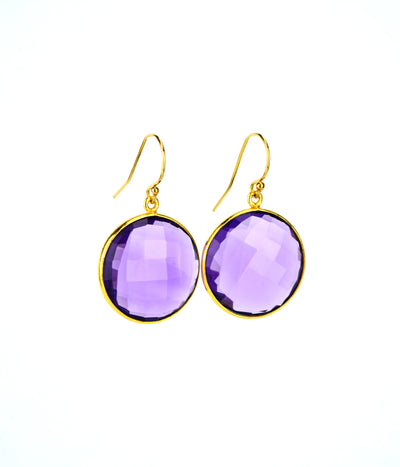 Purple Amethyst large round Vermeil Gold or Sterling Silver bezel set Earrings  - February Birthstone