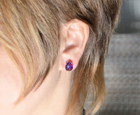 Purple Amethyst Teardrop shape Prong Set Stud Earrings - February Birthstone