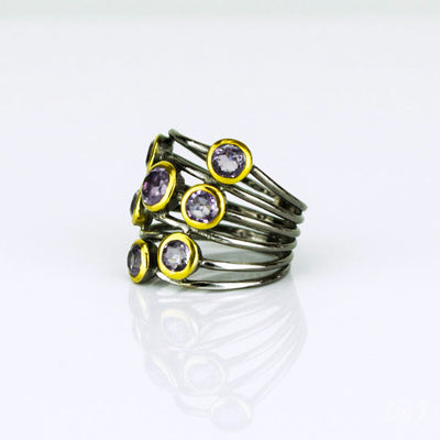 Purple Amethyst Ring, February Birthstone, Mixed Metal Ring