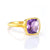 Purple Amethyst Cushion Bezel Ring - February Birthstone