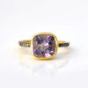 Purple Amethyst Pave Cushion Ring - February Birthstone