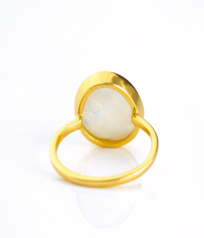Rainbow Moonstone Teardrop Oval Ring