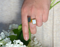 Green Chalcedony Ring - large rectangle bezel set ring - August Birthstone