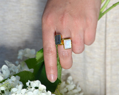 Labradorite large rectangle bezel set ring