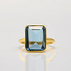 Blue Topaz large rectangle bezel set ring - December Birthstone