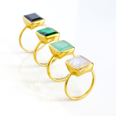 Green Tourmaline Rectangle ring