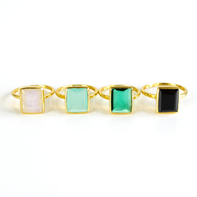 Black Onyx Large Rectangle Bezel Set Ring