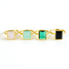 Moonstone large rectangle bezel set ring - June Birthstone