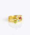 4 Rings Yellow Gold Metal Rainbow Moonstone Ruby Quartz Aqua Chalcedony Peridot