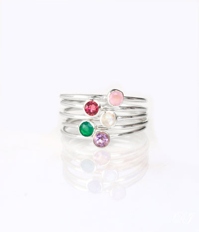 Tiny Stacking Mother's Birthstone Rings in Sets of 2, 3, 4, 5 or 6