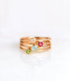 Rose Gold Metal Ring Set of Four Rings Pink Chalcedony Ruby Quartz Aqua Chalcedony Peridot