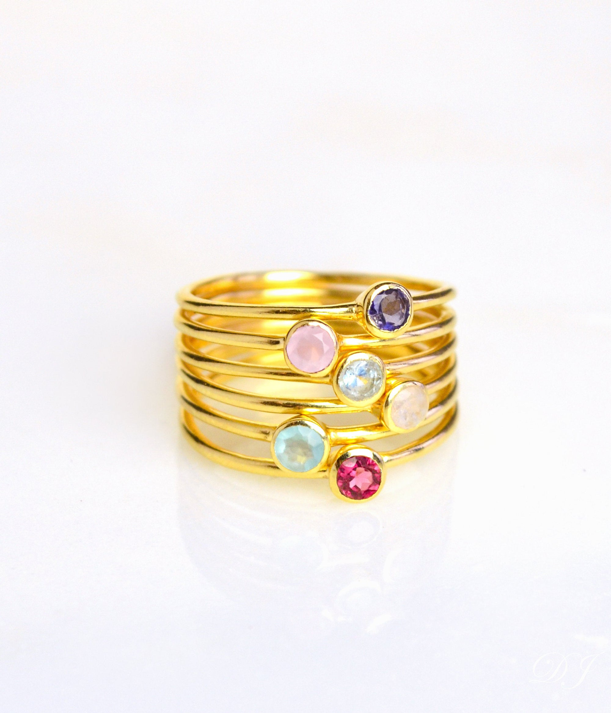 Stackable Tiny Stone Rings. Dainty Ring Gold Ring for Her Birthstone Ring Mothers Day Gifts Birthstone Stacking Ring Mom Rings