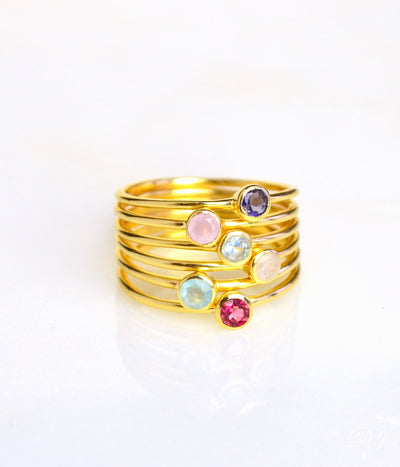 Set of Six Rings Yellow Gold Plating Metal Purple Amethyst Pink Chalcedony Blue Topaz Rainbow Moonstone Aqua Chalcedony Ruby Quartz