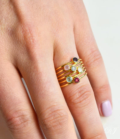 6 Ring Set Vermeil Gold Plated Garnet Pink Chalcedony Blue Topaz Rainbow Moonstone Aqua Chalcedony Ruby Quartz
