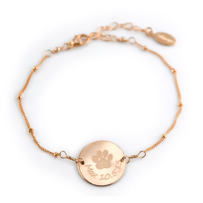 Personalized Pet Bracelet with Paw Print and Name