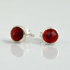 Garnet Small Round Bezel Set Stud Earrings - January Birthstone Earrings