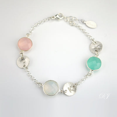 Sterling Silver Birthstone Necklace for Mom Grandma Three Gemstones and Three Brushed Texture Discs with Kids Grandkids Initials Pink Chalcedony Rainbow Moonstone Aqua Chalcedony Adjustable Chain