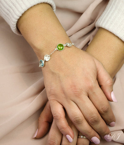 Custom Bracelet with Birthstones and Initials