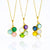 Cascading Birthstone Pendant Necklace with Round Gemstones