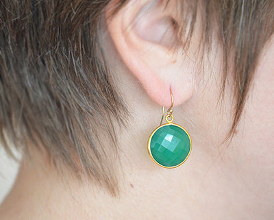 Green Onyx large round Vermeil Gold or Sterling Silver bezel set Earrings - May Birthstone