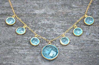 Natural Blue Topaz Bezel set station Necklace - Available in a variety of gemstones in gold or silver