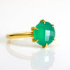 Green Onyx round cut prong set ring - May Birthstone