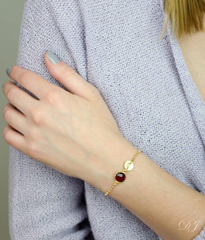 Yellow Gold Bracelet with One Birthstone and One Initial Charm Garnet