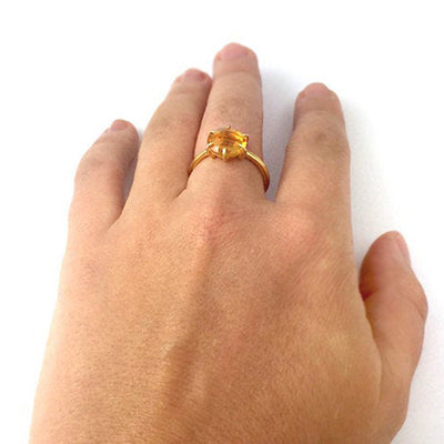 Citrine Round Prong Set Ring : November Birthstone