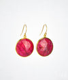 Round Ruby Vermeil Gold or Sterling Silver bezel set Earrings, July Birthstone
