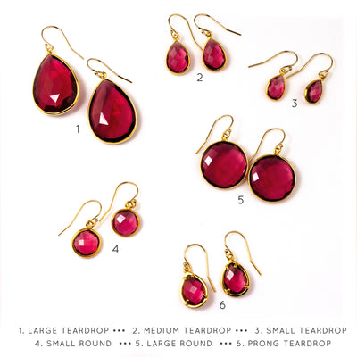 Ruby Quartz Earrings : July Birthstone